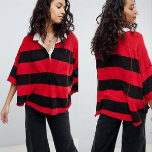 Free People NWT Oversize Vintage Stripe Polo